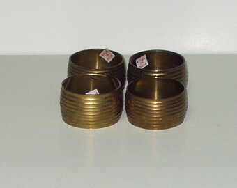 Vintage Brass Metal Napkin Rings Set of 4 Grooved Made India Napkin Rings Retro