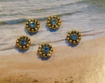 Vintage Swarovski Aqua Blue 10mm Brass Cabochons (8)