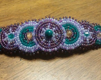 Purple Hair Barrette, Native Inspired Rosette Beaded Barrette, Handmade Beaded Barrette, Hobo Hippie Gypsy Beaded Hair Clip Barrette Custom