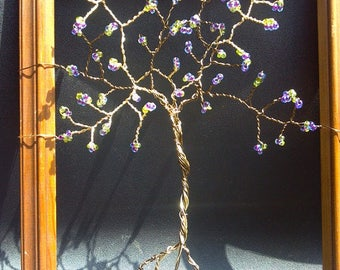 8x10 Framed Tree of Life, Garden Wall Decor, Beads & Wire Tree of Life, Purple Tree of Life, Custom Order, Housewarming Anniversary Gift