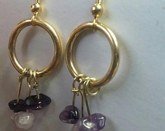 Purple Gemstone dangle earrings, Amethyst Stone Hoop Drop Earrings, Gifts for Her, Amethyst Purple Jewelry, Reclaimed Hoops Dangle Earrings