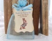 Peter Rabbit Baby Shower Favor Set Organza Bags and Personalized Tags Set of 10