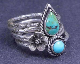 Turquoise Flower Rings, Boho Earrings, Sterling Silver Rings, Stacking Rings, Silversmith Jewelry