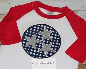 Unisex Tennessee Tristar Appliqued Shirt for Kids, Boys TN Shirt, Girls TN Shirt, State Pride, American Pride, Red and Blue Raglan Shirt