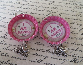I Am Saved Scripture Bottle Cap Earrings