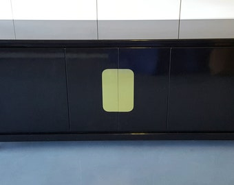 1970's James Mont Style Lacquer and Brass Credenza