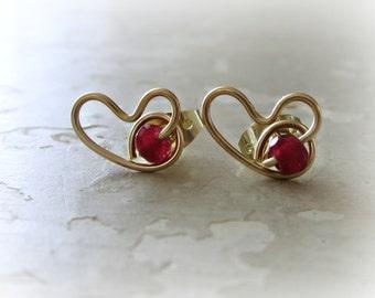 Valentines Day, Heart Stud Earrings, Garnet Posts, Garnet Heart Posts, January Birthstone, Gold Heart Studs, Love Earrings, Heart Jewelry