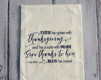 Screenprinted Tea Towel Psalm 100:5 Thanksgiving