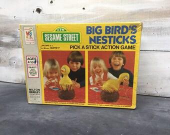 Milton Bradley, 1977 Sesame Street, Big Bird's Nesticks Pick A Stick Action Game, Muppets Game, Jim Henson