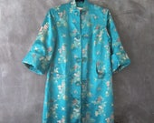 Silk Brocade Mandarin Jacket Chinese Embroidered Satin Teal Long Robe Duster Jacket Ladies Size S