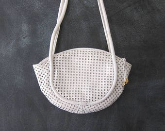 15% Off Out of Town Sale 80s Perforated White  Leather Hobo Shoulder Half Moon Modern Minimalist Tote Bag