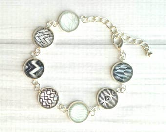 Black / White Bracelet - Ikat style modern print light blue / navy accent glass charm link silver adjustable - geometric pattern line design