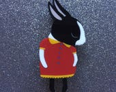 Shy Bunny Handmade Laser Cut Perspex Brooch - Black and White Dutchie
