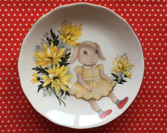 Vintage Baby Bunny With Sunflowers Illustrated Vintage Plate