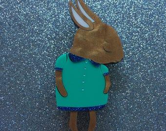 Shy Bunny Handmade Laser Cut Perspex Brooch - Brown Pearl