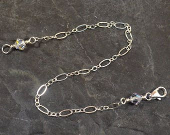 4 Inch Crystal Necklace Extender - Sterling Silver - Figure Eight Chain