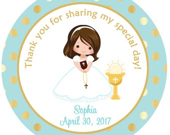 First Communion Sticker First Communion Favor Tag. Holy Communion Sticker Choose Hair and Complexion