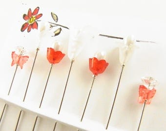 Fancy Sewing Pins Red and White Flowers and Butterflies