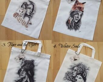 Animals Spiritual Owl Fox Girl Tiger Wolf Husky Art Tote Bag Zindy