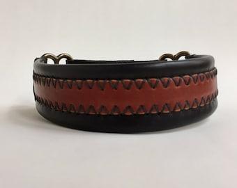 Leather martingale dog collar - custom made dog collar - sighthound collar - greyhound collar - whippet collar