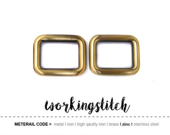 4 pcs 13/16 inch 20.5 mm (inside) ZINC rectangular rings buckles slides for straps st17 / High Quality