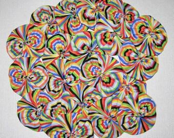 "Fabric YoYos, 20 Multi Color Stripe, 2"" Size, Crafting, Appliques, Embellishments"