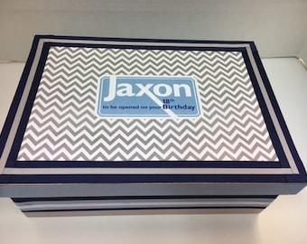 Boy's Keepsake Box  Personalized- Navy, Light Blue and Gray Chevron