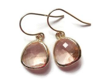 SALE Gift Peach earrings Champagne earrings Blush earrings Bridesmaid earrings Bridal earrings Dangle earrings Drop earrings Wedding jewelry