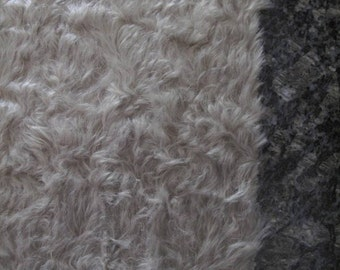 "1/4 yard - 18"" x 27""- Medium Density Mohair with Curly Finish - 3/4"" pile STONE color cheswickcompany"