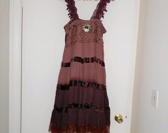 LUCKY PENNY DRESS FReNCH LaCE TuLLE MiDI HiPPIE BoHO UPCyCLED DReSS BeADED Xs/ S