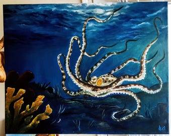 Mimic Octopus Oil Painting 16x20