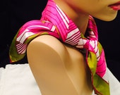 Vintage Vera Neumann Silk Scarf, Hot Pink And Green, Square Geometric Design Scarf