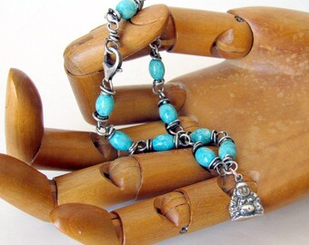 Sterling silver bracelet silver and turquoise bracelet silver Buddha bracelet Buddhist jewelry turquoise fossil stone Buddhist bracelet