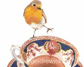 ON SALE Robin Watercolor Print - Teacup Watercolour, Daredevil, 5x7 Art Print of a Painting