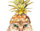 Cat PRINT - Pineapple Watercolor, 5x7 Print, Fine Art Print, Angry Cat, Food Art, Long Haired Cat, Kitchen Print