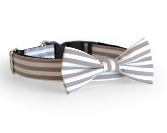 New Color! Designer dog collars, Bow Tie Dog, Cat Collar Bow Tie, Wedding Dog Collar, Gray Stripe dog collar, dog bowtie, cat bow tie