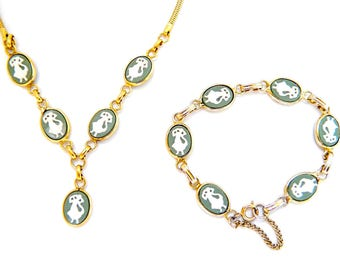 Vintage Gold Lavalier Green Cameo Goddess Necklace & Bracelet Bezel Set - Jasper Wedgwood Style - Charms - Link Bracelet Safety Chain - Set