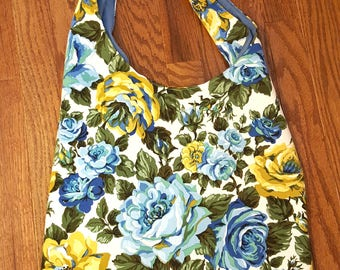 Vintage Rose Fabric Bag Blue Roses Hobo Tote Bag