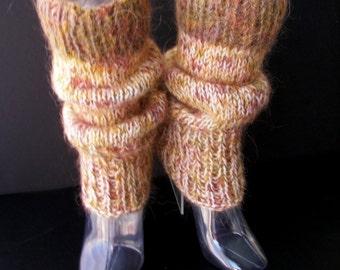 Coloful Art Hand Knit Thick Leg warmers in 100% NZ WOOL & Mohair / Wearable Fiber Art / Chunky Leg warmers