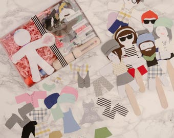 Paper Hipsters Doll Puppet Craft Kits for Kids and Adults set of 50