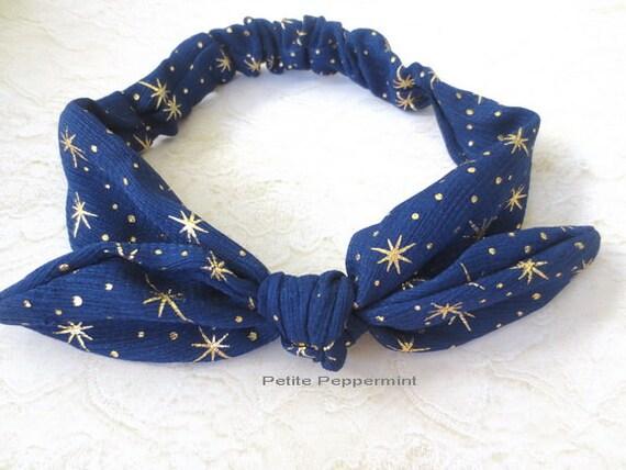 Navy Blue and Gold Baby Bow Headband, Baby Headband, Baby Head Wrap, Baby Headband, Toddler Headband,Navy Blue and Gold Baby Turban