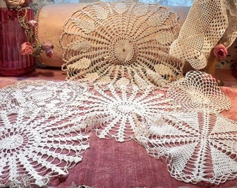Vintage Lace Hand Made Doily Lot