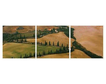 """TRIPTYCH Fine Art Color Photography of Tuscany - """"Winding Lane in Tuscany"""""""