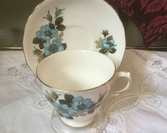 Teacup and Saucer Royal Vale, Blue Floral Cup Saucer, English Bone China, Ridgeway Potteries Pattern 8332