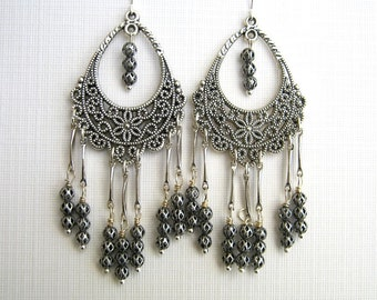 Antique Silver Filigree Chandelier Earrings Long Chandelier Earrings