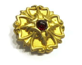 "Vintage Red Glass Brooch Gold Tone 1 3/8"" Gift for Her Vintage Pin Under 25 Vintage Jewelry Gift Idea"