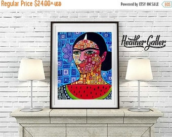 50% Off Today- MEXICAN Fok art - Frida Art Frida Kahlo Mexican Folk Art Poster Print of painting by Heather Galler (Hg634)