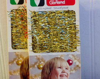 Vintage Gold Tinsel Garland, Retro Christmas Decoration, Holiday Tree Garland, 1980s 80s Xmas