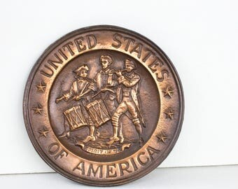 Vintage Bicentennial Spirit of 76 Wall Plaque, United States of America Patriotic Home, Copper Brown Metal Patriot Decor, 4th Fourth of July
