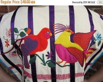 On Sale 70s Vest.  MEXICAN Vest . folk Art Jacket. Birds  OS OPUS 1 Diana Martinez